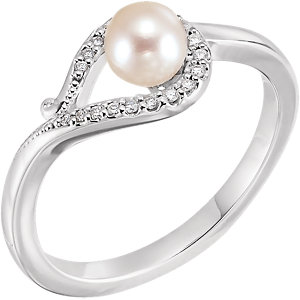 14K White Freshwater Cultured Pearl & .07 CTW Diamond Bypass Ring