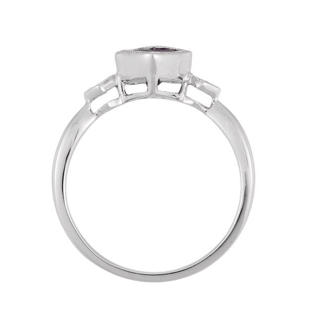 14K White Amethyst & .02 CTW Diamond Ring
