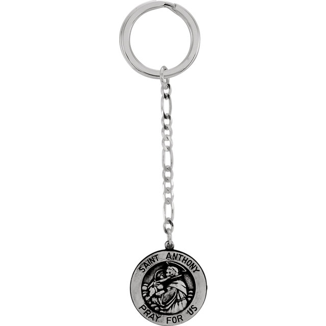 Sterling Silver 25mm St. Anthony Key Chain