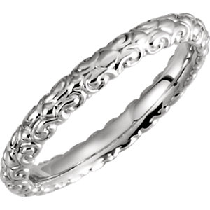 14K White Sculptural-Inspired Band Size 6