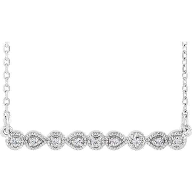 14K White .07 CTW Diamond Milgrain Bar 16-18