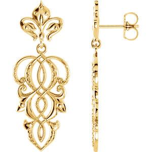 Earrings , 14K Yellow Decorative Dangle Earrings