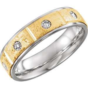 Sterling Silver & 10K Yellow 6mm .05 CTW Diamond Band Size 11
