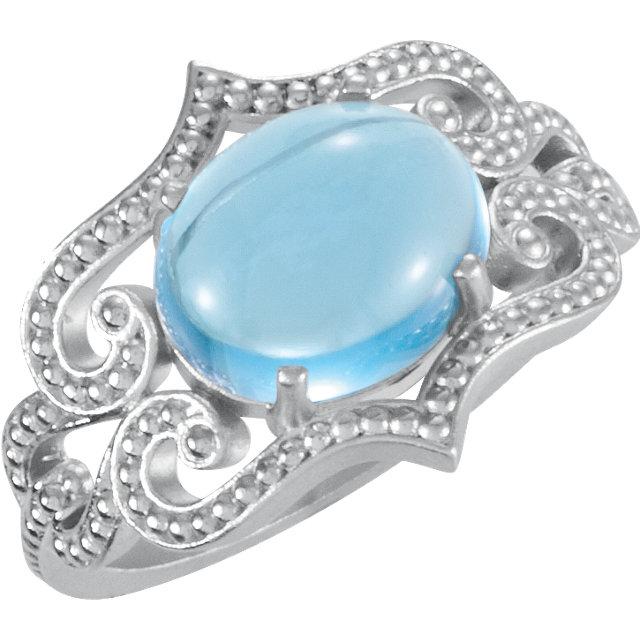 Sterling Silver Swiss Blue Topaz Granulated Design Ring