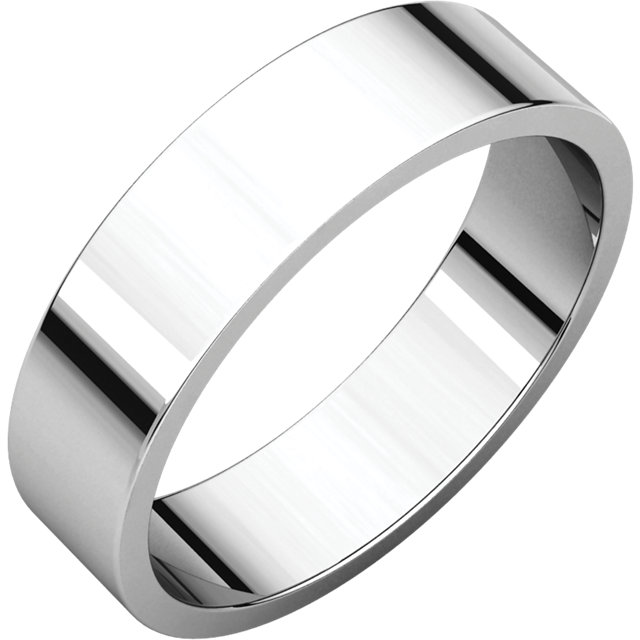 14K X1 White 5 mm Flat Band