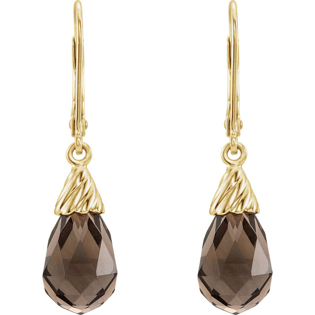 14K Yellow Smoky Quartz Earrings