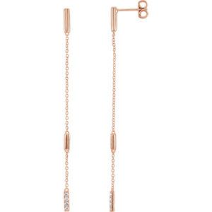 Earrings , 14K Rose 1/10 CTW Diamond Chain Earrings