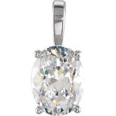 Oval 4-Prong Solitaire Light Weight Pendant