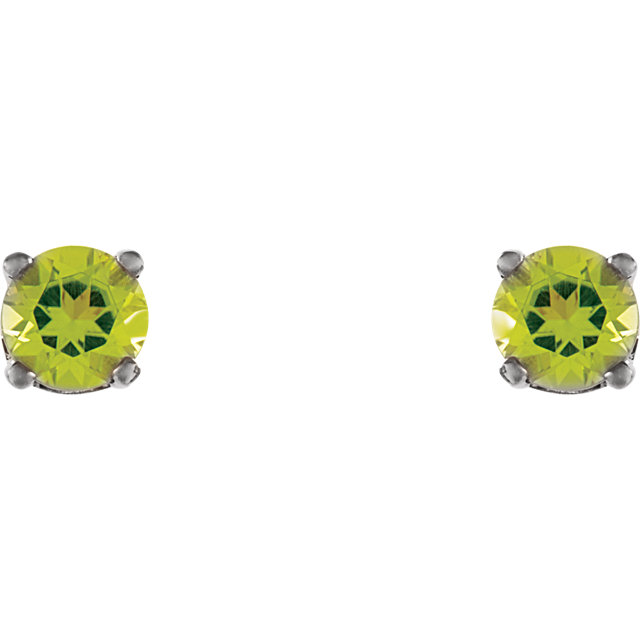 14K White Genuine Peridot Earrings