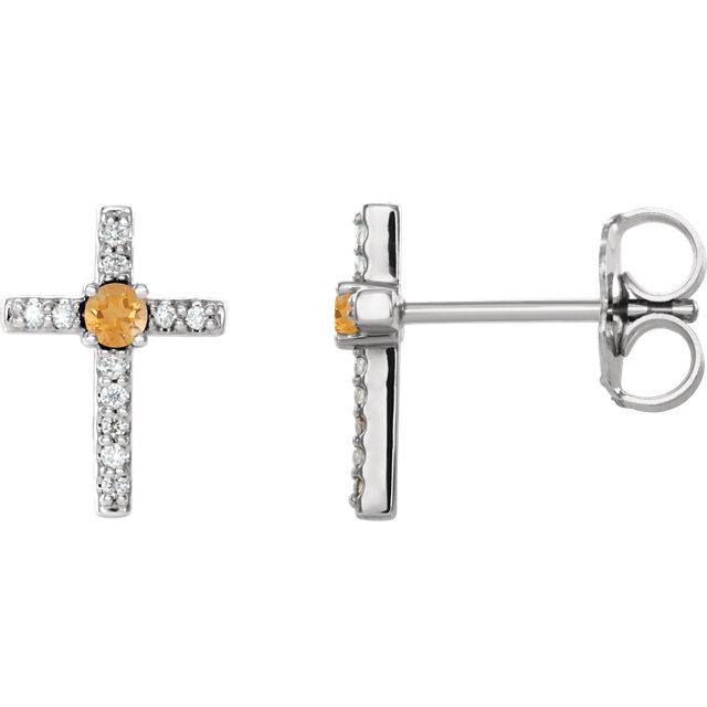 14K White Citrine & .06 CTW Diamond Cross Earrings