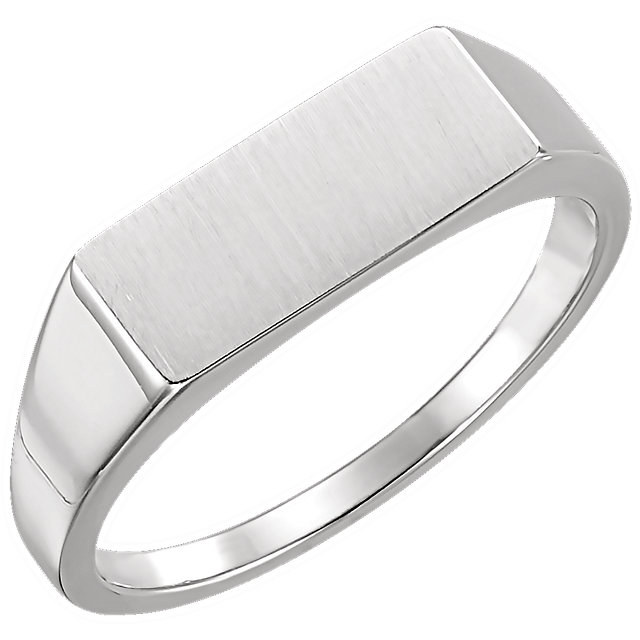 14K White Men-s Rectangle Signet Ring