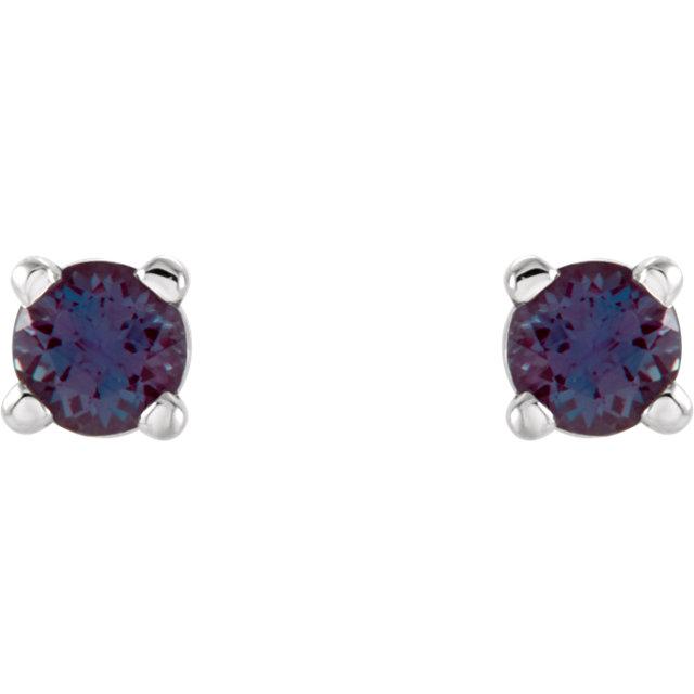 14K White 2.5 mm Round Chatham® Created Alexandrite Earrings