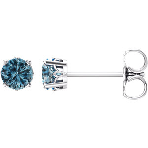 14K White Swiss Blue Topaz 4-Prong Scroll Setting® Stud Earrings