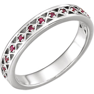 Fashion Rings , Platinum Ruby Stackable Ring