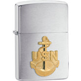 Zippo® Navy Anchor Emblem Brushed Chrome Lighter