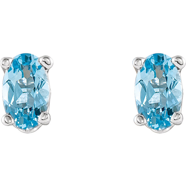 14K White Aquamarine Earrings