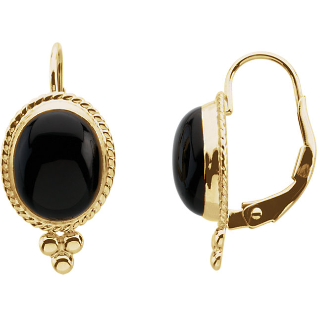 Onyx Cabochon Lever Back Earrings