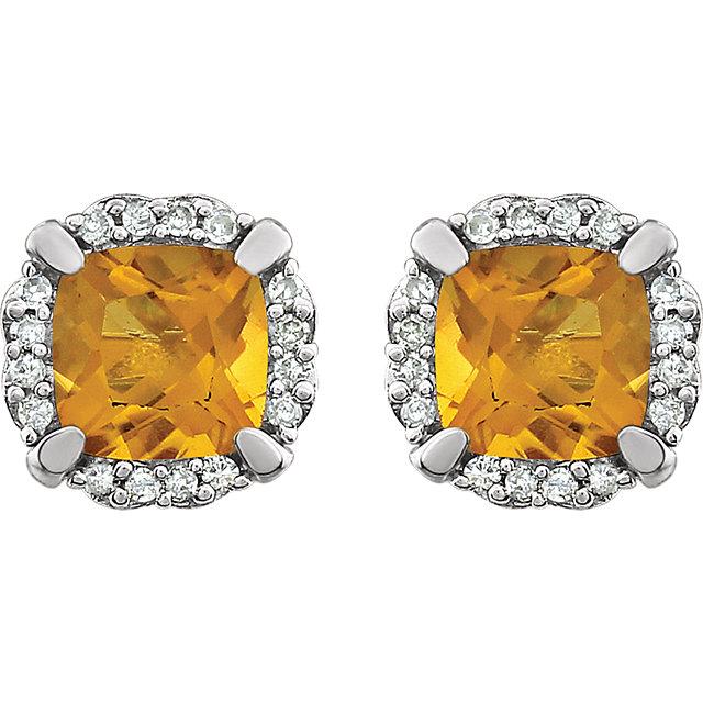 14K White Citrine & 1/10 CTW Diamond Earrings