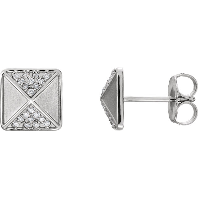 14K White .10 CTW Diamond Accented Earrings
