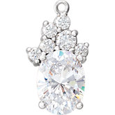Oval 4-Prong Cluster Accented Dangle