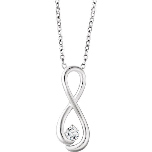 14K White 1/6 CTW Diamond Infinity-Inspired 16-18