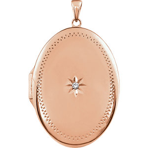 14K Rose Gold-Plated Sterling Silver Cubic Zirconia Locket