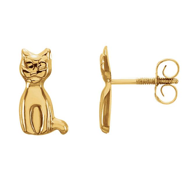 14K Yellow Youth Cat Earrings