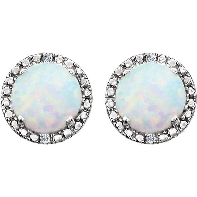 Sterling Silver Created Opal & .01 CTW Diamond Earrings