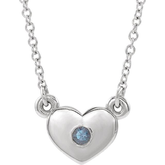 14K White Alexandrite Heart 16