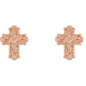 14K Rose Floral-Inspired Cross Earrings