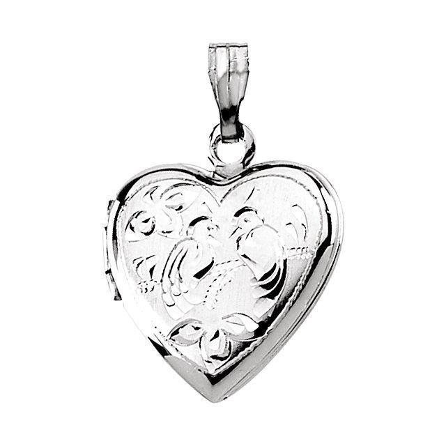 Sterling Silver Love Birds Heart Shape Locket