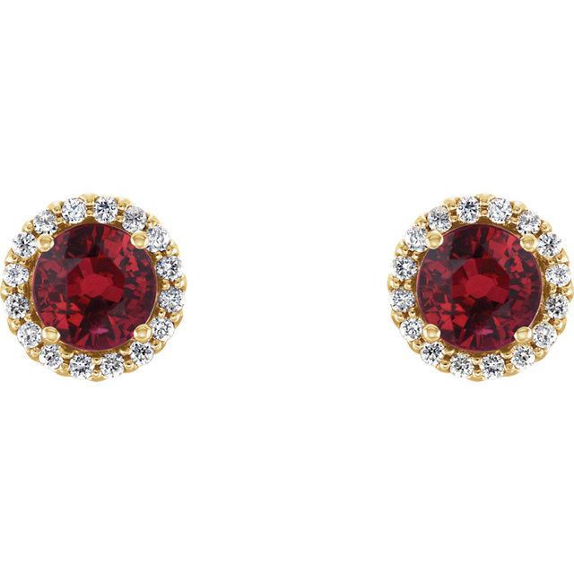 14K Yellow Chatham® Lab-Created Ruby & 1/6 CTW Diamond Earrings