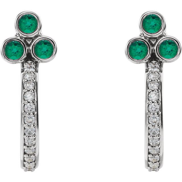 14K White Emerald & 1/4 CTW Diamond J-Hoop Earrings