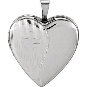 Sterling Silver 20.5x19mm Heart Cross Locket