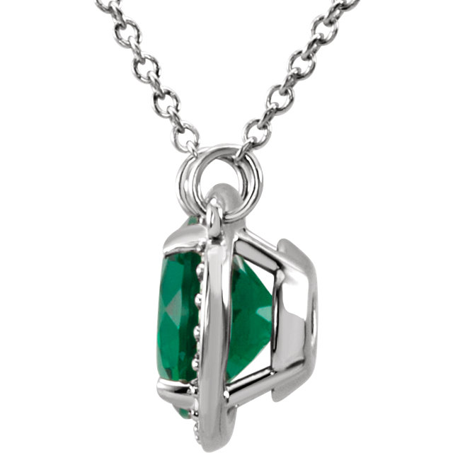 14K White 8 mm Round Chatham® Created Emerald & .05 CTW Diamond 16