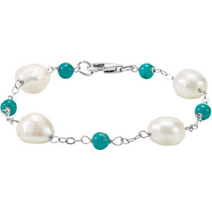 Sterling Silver Pearl & Turquoise Bracelet