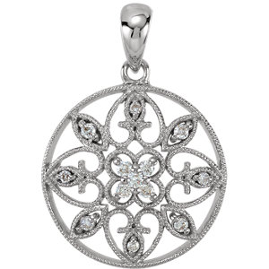 14K White 1/8 CTW Diamond filigree Pendant