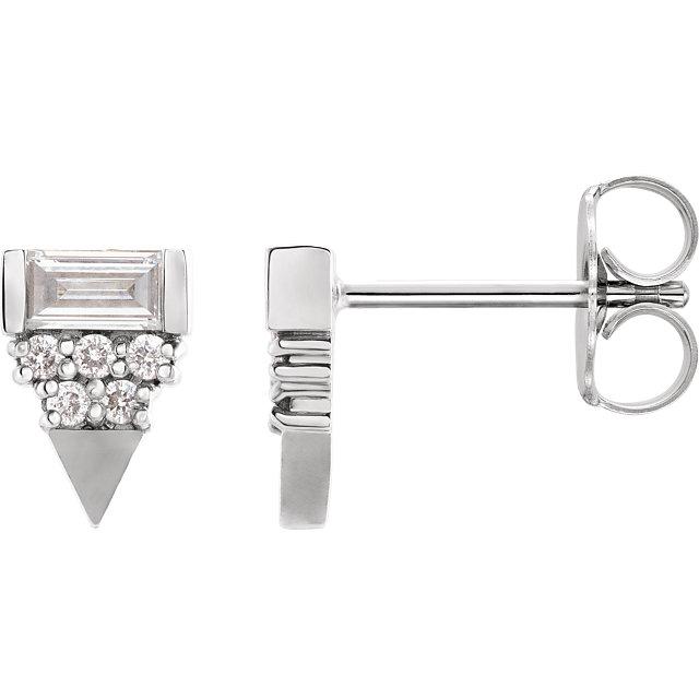 14K White 1/3 CTW Diamond Geometric Earrings