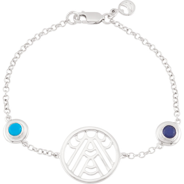 Sterling Silver Turquoise & Sapphire 7