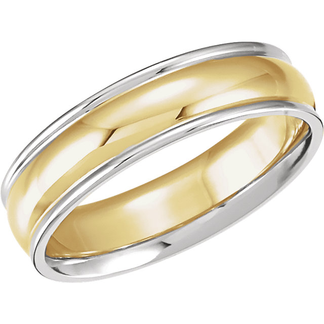 14K White/Yellow/White 6 mm Comfort-Fit Band Size 7