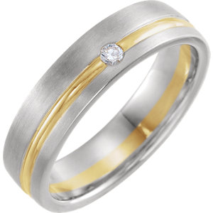 14K White & Yellow .07 CTW Diamond 6 mm Grooved Comfort-Fit Band Size 11