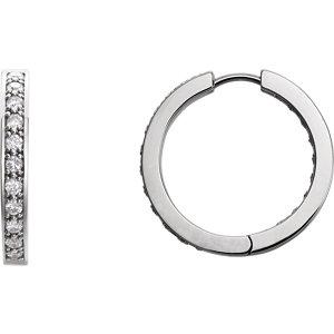 14K White 1 CTW Diamond Hoop Inside/Outside Earrings
