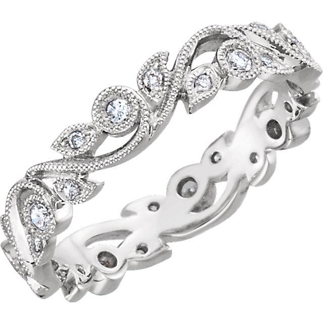 14K White 1/4 CTW Diamond Eternity Band Size 7