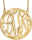 14K Yellow 40mm 3-Letter Script Monogram Necklace