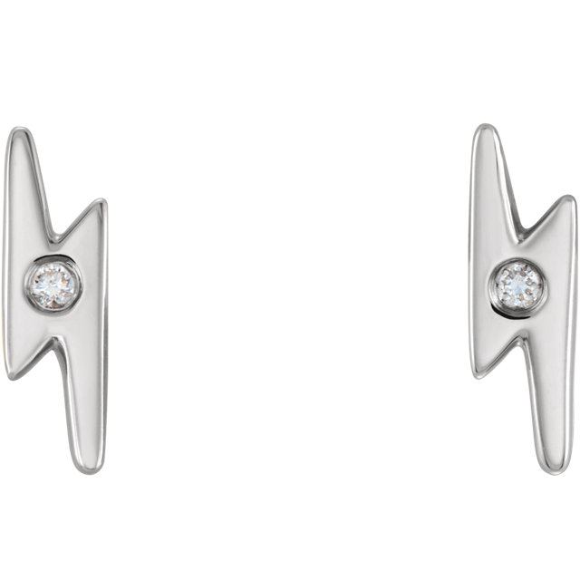 14K White .03 CTW Diamond Lighting Bolt Earrings
