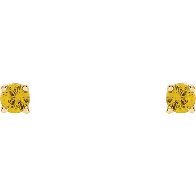 14K Yellow 2.5 mm Round Yellow Sapphire Earrings