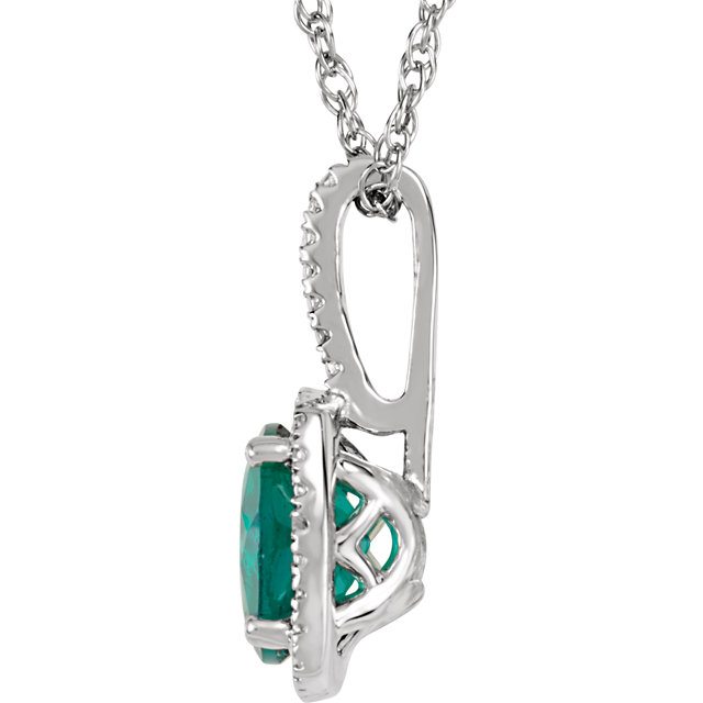 Sterling Silver 7 mm Lab-Grown Emerald & .015 CTW Diamond 18