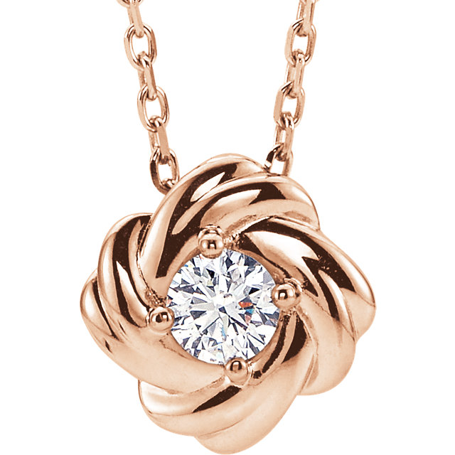 14K Rose 1/6 CTW Diamond Knot 16-18
