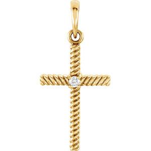 14K Yellow .02 CTW Diamond 24.25x11.35mm Rope Design Cross Pendant