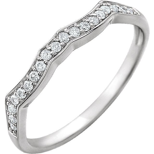 14K White 1/8 CTW Diamond Band for 5.2 mm Round Ring